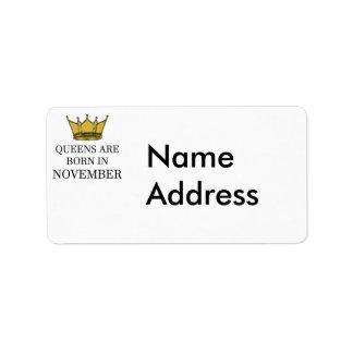 Etiqueta O Queens é nascido em novembro