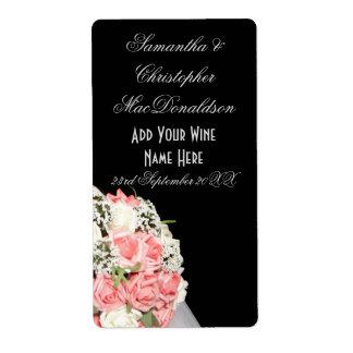 Etiqueta O rosa do rosa floresce a garrafa de vinho floral