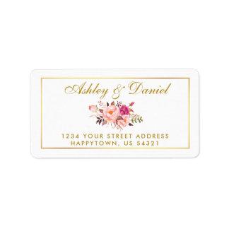 Etiqueta O rosa floral da aguarela cora casamento do ouro
