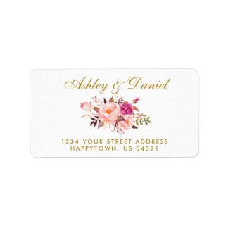 Etiqueta O rosa floral da aguarela cora endereço do