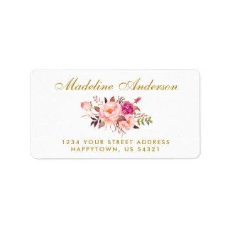 Etiqueta O rosa floral da aguarela cora ouro