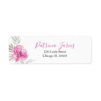 Etiqueta O rosa floresce a aguarela botânica elegante