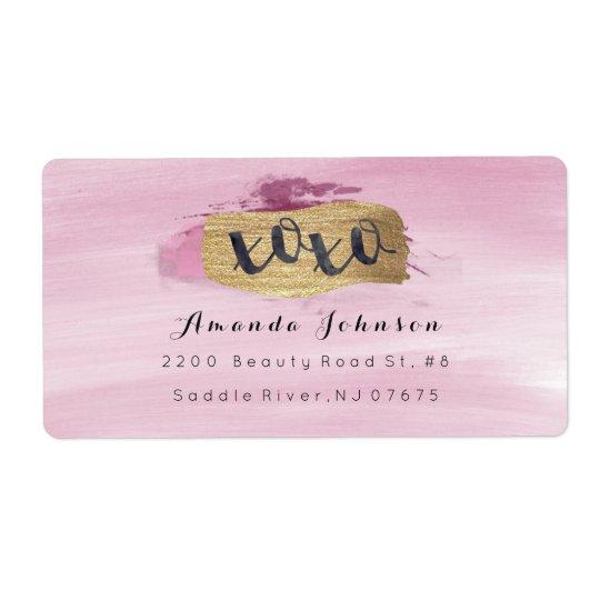 Etiqueta O rosa Sparkly dourado de XOXO cora curso da