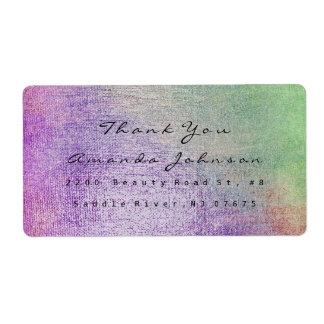 Etiqueta O roxo da cerceta verde cora obrigado da