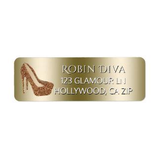 Etiqueta O salto alto feminino da diva calça o brilho Glam