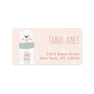 Etiqueta O urso polar/aquece desejos/etiqueta de endereço
