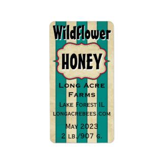 Etiqueta O vintage listra o frasco personalizado Wildflower
