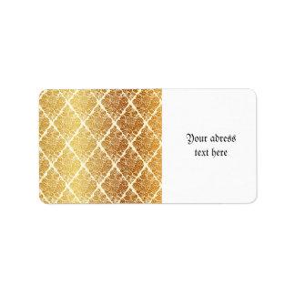 Etiqueta O vintage, ouro, damasco, floral, teste padrão,