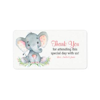 Etiqueta Obrigado da menina do elefante da aguarela você