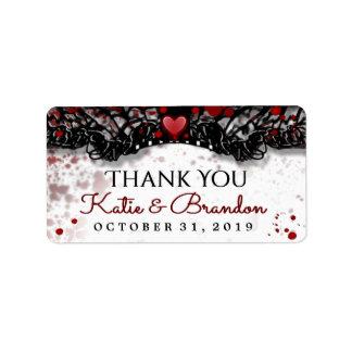 Etiqueta Obrigado do casamento do Dia das Bruxas do
