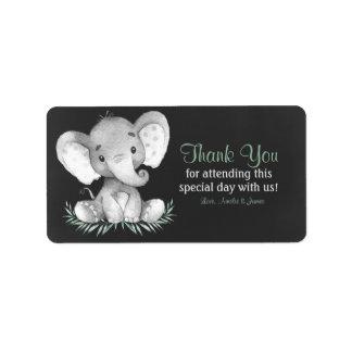 Etiqueta Obrigado do elefante da aguarela do quadro você