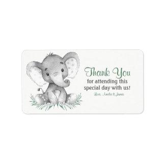 Etiqueta Obrigado do elefante da aguarela você