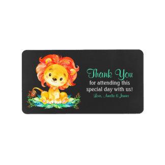 Etiqueta Obrigado do leão da aguarela do quadro você