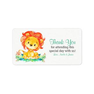 Etiqueta Obrigado do leão da aguarela você