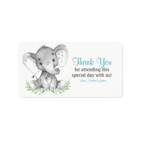 Etiqueta Obrigado do menino do elefante da aguarela você