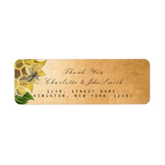 Etiqueta Obrigado endereço do remetente do ouro do girassol