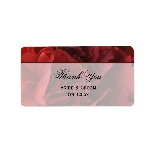 Etiqueta Obrigado floral vermelho do casamento você