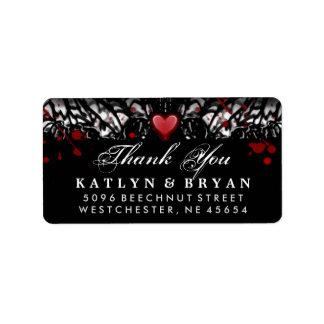 Etiqueta Obrigado preto & branco do coração do casamento do