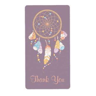 Etiqueta Obrigado roxo tribal de Dreamcatcher Boho você