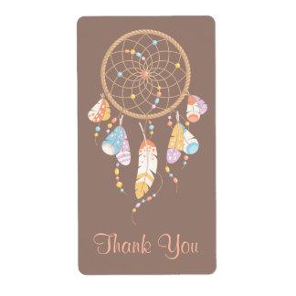 Etiqueta Obrigado tribal de Dreamcatcher Boho Brown você