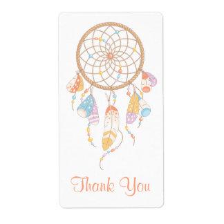 Etiqueta Obrigado tribal de Dreamcatcher Boho você