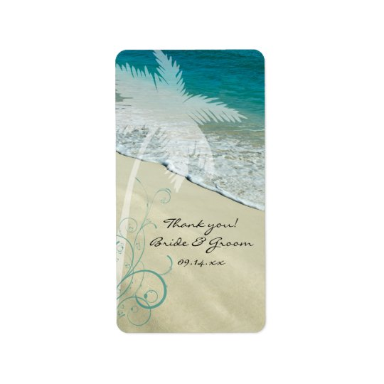 Etiqueta Obrigado tropical do casamento de praia você