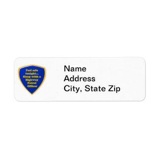 Etiqueta Oficial de patrulha da estrada