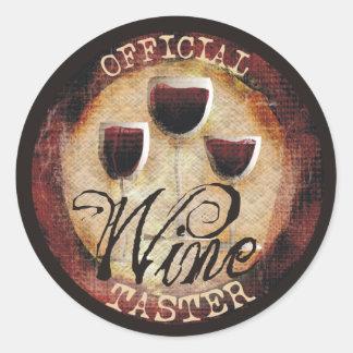 Etiqueta oficial do botão do provador do vinho adesivo em formato redondo