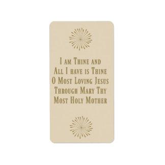 Etiqueta Oração St Louis DeMontfort da consagração