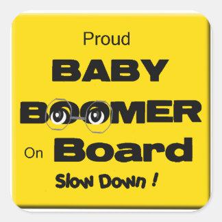 Etiqueta orgulhosa do nascido no Baby Boom a bordo Adesivo Quadrado