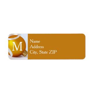 Etiqueta Ornamento do ouro com monograma, fundo do ouro