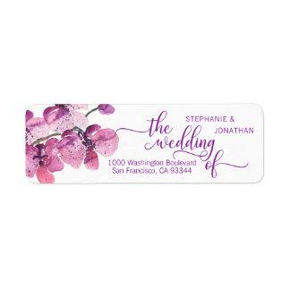 Etiqueta Orquídeas roxas da ameixa floral da aguarela que