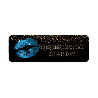 Etiqueta Os lábios do brilho do azul de turquesa -