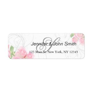 Etiqueta Os redemoinhos do rosa do rosa que wedding o chá