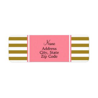 Etiqueta Ouro metálico e teste padrão listrado cor-de-rosa
