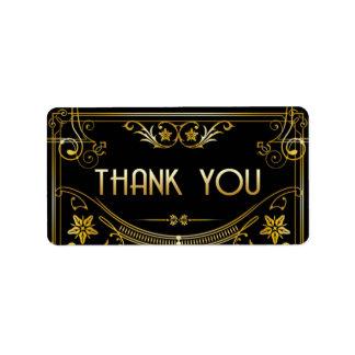 Etiqueta Ouro & obrigado preto do art deco de Gatsby você