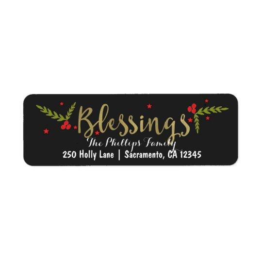 Etiqueta Ouro preto das bênçãos & cartão vermelho do