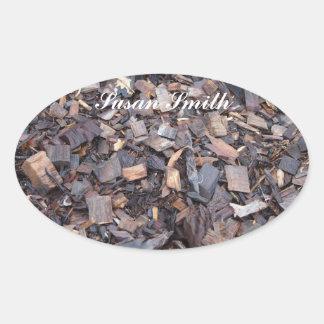 Etiqueta oval com nome - microplaqueta de madeira