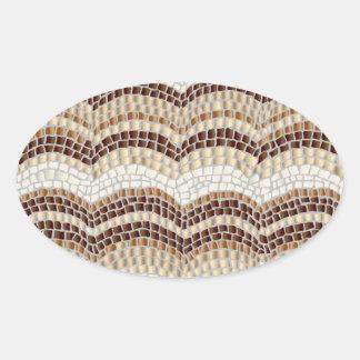 Etiqueta oval lustrosa do mosaico bege