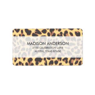 Etiqueta Padrões da pele animal do impressão do leopardo