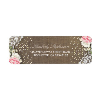 Etiqueta País rústico dos confetes florais do ouro do laço