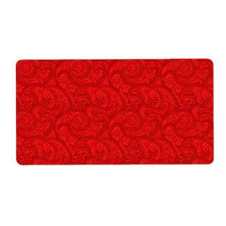 Etiqueta Paisley vermelho