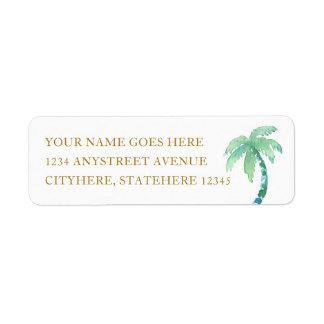 Etiqueta Palmeira da aguarela para o casamento do destino