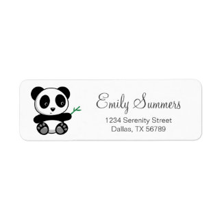 Etiqueta Panda pequena bonito com uma vara de bambu