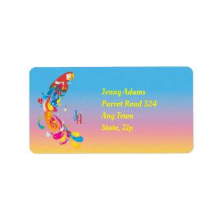 Etiqueta Papagaio multicolorido adorável