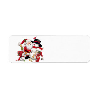 Etiqueta Papai Noel e boneco de neve