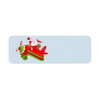Etiqueta Papai Noel e seu avião