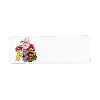 Etiqueta Papai Noel e um saco aos brinquedos