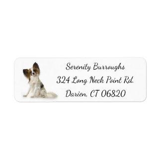 Etiqueta Papillon Brown & cão de filhote de cachorro branco