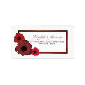 Etiqueta Papoilas vermelhas e casamento de serapilheira